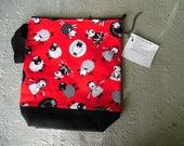Large Zippy Tote Project bag, Knitting Sheep on Red