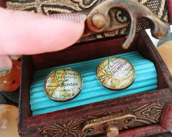 Cufflinks custom map cufflinks silver plated in mini wooden trunk