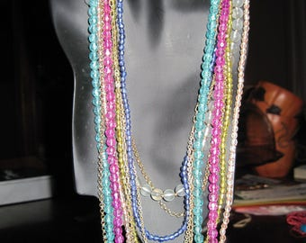 Vintage Multi Strand Beads and Chains Necklace....Crystal & Multiple Colors..#2070....ESTATE ITEM...60's/70's...Retro