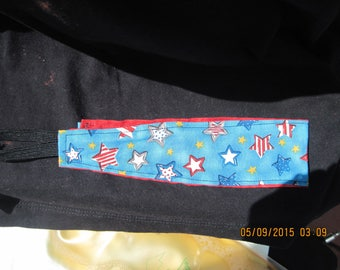 REVERSIBLE Head/Hair Band...4th of July Lt Blue Red,White Stars AND Red Tye Dye Print/Nautical..black band ..hand made...1002HF...OOAK