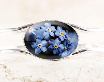 Forget-Me-Not Bracelet - Blue Forget Me Not Flower Jewelry, Silver Bangle Bracelet, Mourning Memorial Bracelet, Remembrance Jewelry Bracelet