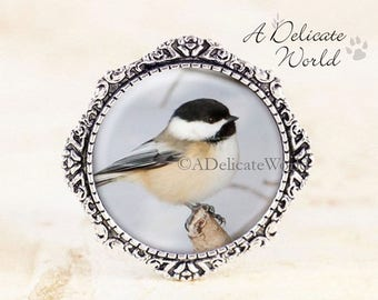 Chickadee Brooch - Silver Bird Jewelry Broach, Chickadee Photography Jewelry, Chickadee Bird Brooch, Silver Chickadee Jewelry, Bird Gift