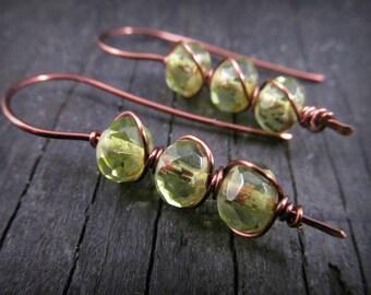 "Wire wrapped earrings, Peridot green, wire wrapped copper jewelry, wire jewelry, rustic earthy bohemian ""Dragonfly Dreams"""