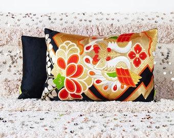 Red Black Gold Obi Pillow, Upcycled Vintage Kimono Cushion, Luxury Accent Pillow, Metallic Embroidery Japanese Phoenix Bird Paulownia Flower