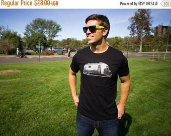 Clearance Men's Small Vintage Airstream Trailer T-Shirt - Happy Camper Tee