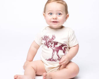 Moose One Piece - Screen Printed - Infant One Piece -  Baby Clothing - Baby One Piece
