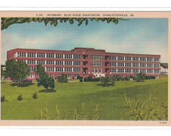 """Virginia, Vintage Postcard, """"Infirmary, Blue Ridge Sanatorium, Charlottesville, Va., Linen card, #1093."""