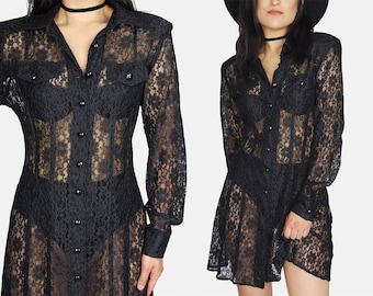 Black FLORAL Lace MINI Dress Vtg 80s Dawn Joy Fashions SHEER Dance Party Sun Summer Festival Hippie Boho Witchy Goth - Small/Medium