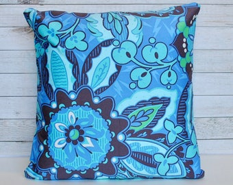 Blue floral pillow covers in funky pattern.  1 cover for 18x18 pillow insert.  Stunning Amy Butler Soul Blossoms fabric.