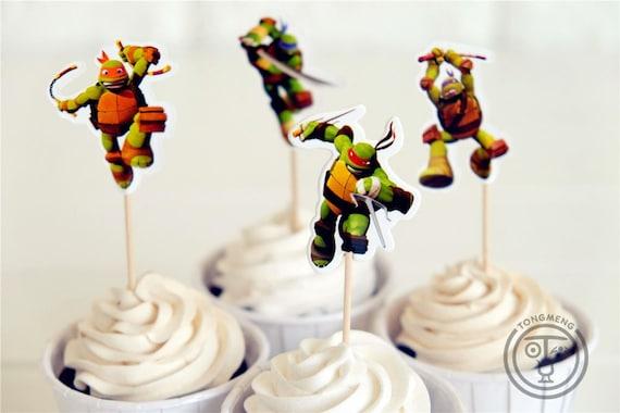 12 Teenage Ninja Turtles Picks Pics Cupcake Cake Birthday Party Favors Toppers