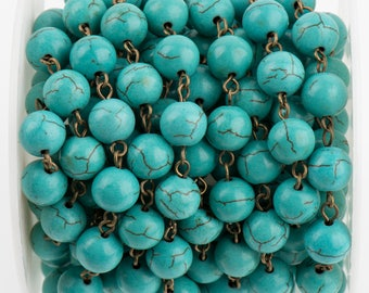13 ft (4.33 yards) TURQUOISE BLUE Howlite Rosary Chain, bronze links, 8mm round stone beads, fch0712b