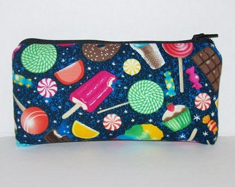 "Pipe Pouch, Cute Sweets Munchies, Pipe Case, Pipe Bag, Glass Pipes, Padded Pipe Pouch, Zipper Bag, Food Gifts, Smoke Accessory - 5.5"" SMALL"
