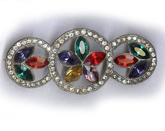 antique brooch three circle CZECH rhinestone brooch or pin colorful ANTIQUE RHINESTONE brooch multicolor