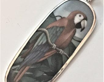 Broken China Jewelry, Pendant.sterling Silver  OOAK  Parrot