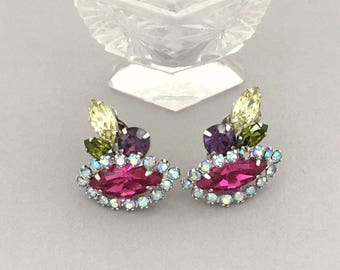 Sherman Rhinestone Earrings - Multi Color Rhinestone Clip On Earrings - Designer Signed Pink Rhinestone Earrings Vintage Rhinestone Jewelry