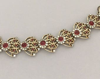 RARE Designer Red Rhinestone Bracelet - Vintage Rhinestone Bracelet Signed JOMAZ - Red Jewelry Bracelet Gift - Statement Bracelet for Her