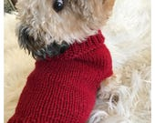Red Dog Sweater Hand Knit Small
