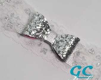 Silver Leather n Lace Stretch Headband for Baby, Toddler or Little Girl in White and Metallic Silver