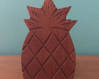 Vintage 1960s Tikilicious Carved Monkey Pod Pineapple Coaster Set