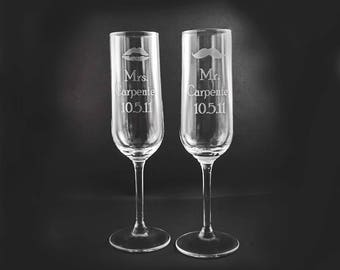 Mustache and Lips Etched Champagne Flutes - Set of Two, Wedding Toast, Anniversary, Bridal Shower Gift, Bride and Groom Gift, Flutes