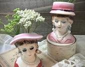 Vintage Japan Miniature Lady Head Vases - Set of 2 - Lady Head Vases - Collectibles - Vintage Decor - Shabby Chic - Gifts