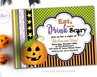 Eat Drink and Be Scary Invitation, Printable Halloween Party Invitations, Halloween Costume Party Invitation, Halloween Party Invites