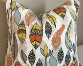 Feather pillow, peacock pillow, pillow cover, cushion cover, earth tones, nature decor, 14x14