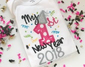 My First New Year 2016 bodysuit for baby girls -- hot pink and black with silver glitter