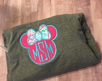 Lilly Pulitzer fabric Monogrammed Disney women's  Minnie monogrammed appliqued tshirt
