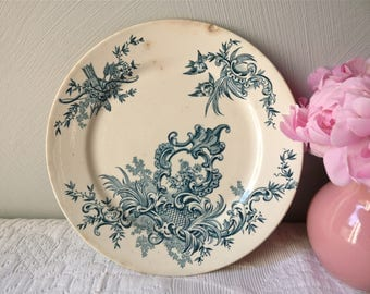 Antique French collectible plate with Trophy, flower, Motif Rocaille - Shabby Chic - Blue Antique plate - Ironstone French Plate
