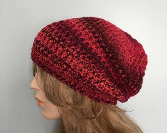 Crochet Slouchy Hat - MIXED BERRIES
