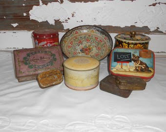 Rustic Old Collection of Vintage Tins - 9 Piece Lot - Menagerie Instant Collection - Salvaged Product Tins