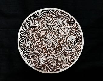 Circle mandala/round lace doily stamp/hand carved block printing stamp/tjap/ wooden block for printing/ paper and fabric printing stamp