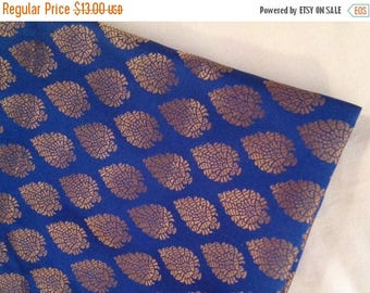 15% off on One yard of Indian brocade fabric in blue with gold paisley motifs/Benarasi brocade/ Indian sari fabric/ Dress,costume fabric