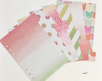 A5 Sized Coral Green Pink Purple Watercolor Ombre Dots Stripes Painted Laminated Dividers For A5 Filofax Large Kikki-k Recollections Planner