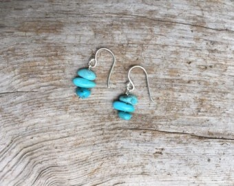 For Cassondra - Fine silver and turquoise earrings