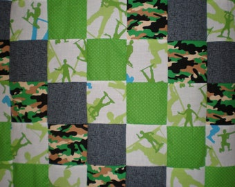 Upcycled Plastic Green Army Men Patchwork  Quilt