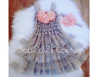 Peach and Gray Lace Dress & Headband, Peach and Gray Lace Flower Girl Dress, Peach and Gray Rustic Wedding Dress, Girls Gray Lace Dress