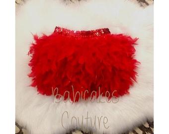 Full Feather Tutu, Feather Tutu, Pageant Feather Tutu, Dance Feather Tutu Christmas Red Feather Tutu Cheer Feather Tutu, Girls Feather Skirt