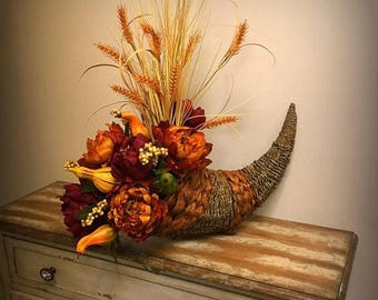 On Sale Thanksgiving Cornucopia Centerpiece Fall Floral Arrangement Autumn Home Decor Fall Gourd Centerpiece Rustic Fall Floral Arrangement