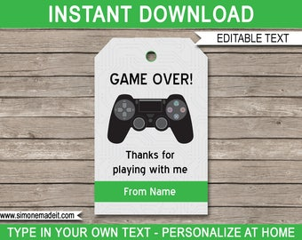 Video Game Favor Tags - Printable Video Game Thank You Tags - Birthday Party Favors - Video Game Theme - INSTANT DOWNLOAD with EDITABLE text