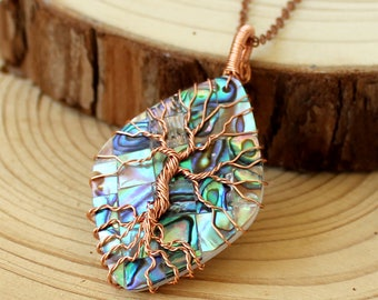 Tree of Life Necklace in Copper Wire ,Abalone Tree of Life Copper Necklace,Wire Wrapped Tree of Life Necklace,Abalone Tree Necklace