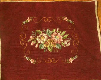 Vintage Needlepoint with Scrolls and Roses, for Foot Stool