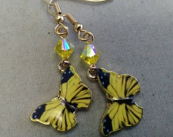 Yellow Butterfly and Swarovski Crystal Earrings