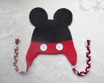 READY TO SHIP - 5 Years to Small Adult Size - Mickey Mouse Crochet Hat - Winter Hat or Photo Prop