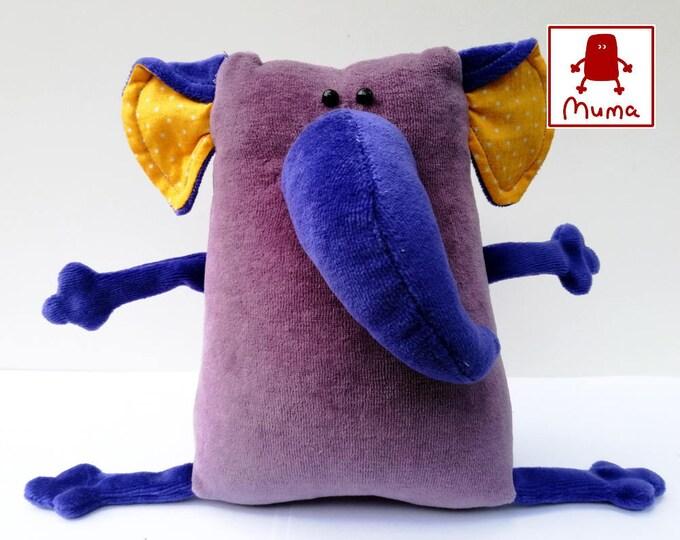 Muma Violet Elephant Plushie, Little Pocket Elephant Stuffie Toy, Funny Mammoth Pocket Plush