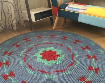 Super fun and original hand crochet wool rug, perfect for a nursery, 50'' in diameter, ready to ship