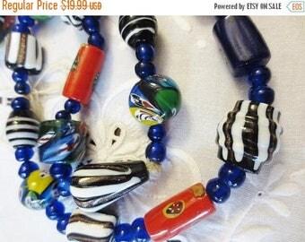 30% OFF SALE Vintage Venetian Murano Glass Beads Strand Millefiore Cobalt Swirl Mix Handmade Art DIY Jewelry Supplies