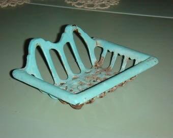 French Blue Enameled Soap Dish