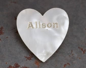 Alison Lapel Pin - Faux Mother of Pearl Brooch